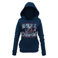New England Patriots 5th & Ocean by New Era Women's Super Bowl LI Champions Helmet Pullover Hoodie - Navy