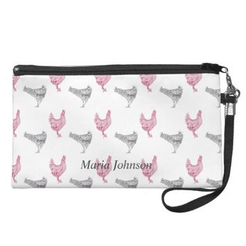 Chicken hand-drawn pattern | customize name wristlet purse
