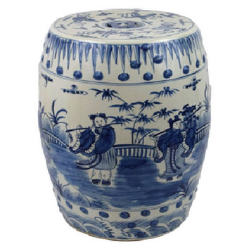 Blue and White Porcelain 8 Immortals Motif Garden Stool 19""