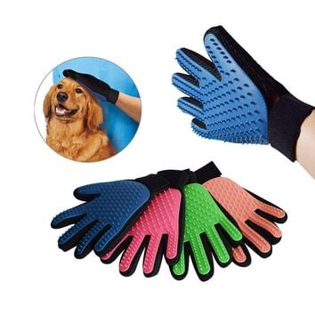 True Touch Dog Cat Cleaning Bath Brush Magic Glove Pet Massage Mitt Hair Fur Removal Grooming Pet Bath Product 3