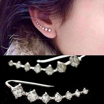2015 Top Quality New Four-Prong Setting 7pcs CZ Diamonds 18K Gold Plated Ear Hook Stud Earrings Jewelry Trendy Jewelry Women Accessories = 1932937348