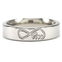 USA Made 5 mm Titanium Ring with Infinity Love Design