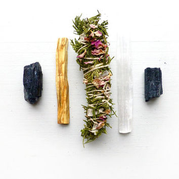 White Sage Smudge Kit with Cedar and Rose