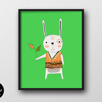 75% OFF Tribal Rabbit Nursery Print, INSTANT DOWNLOAD, Woodland Nursery Wall Decor, Animal Printable, Bunny Poster Children's Room Wall Art