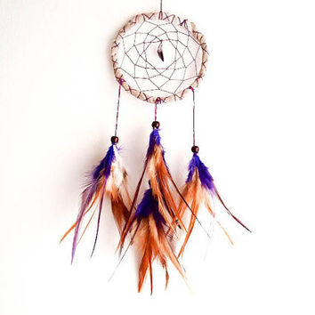 Dream Catcher - Purple Stone - With Purple Amethyst Gemstone, Purple and Brown Feathers and Light Brown Frame - Home Decor, Mobile