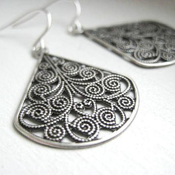 NEW  Filigree Fan Earrings Ornate Filigree by JulieEllynDesigns