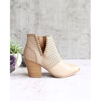 perforated chunky heeled bootie - burnish taupe pu