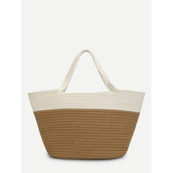 Two Tone Straw Tote Bag - Purse - Large Bag - Beach Bag
