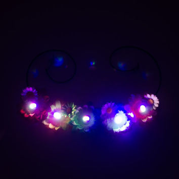 White Daisy LED Flower Crown, LED Headband, EDC Headband, Electric Daisy Carnival, Coachella Crown, Lollapalooza, Electric Forest, SnowGlobe