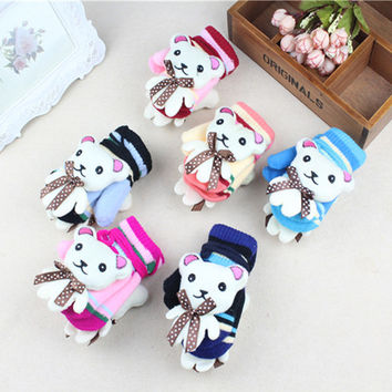 New Kids Gloves Cartoon Bear Infant Gloves Warm Boys Girls Mittens Lovely Crochet Toddler Glove Autumn Winter Baby Accessories