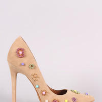 Shoe Republic LA Suede Beadwork Pointy Toe Pump