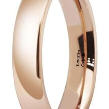 CERTIFIED 4mm Stainless Steel Rose Gold Simple Style Wedding Ring High Polished