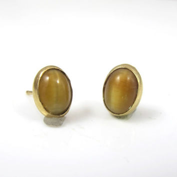 14K Tiger Eye Earrings, Yellow Gold Oval Shaped Cabochons Studs