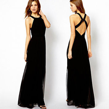 Black Halter Cross Back Chiffon Maxi Dress