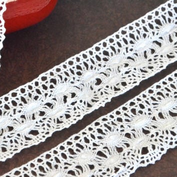 "1 yard 2"" cotton lace ribbon,white cotton crochet lace trim,cotton lace ribbon,crochet ribbon,embellishment,wedding,sewing,card making."
