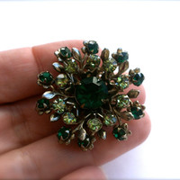 Vintage Green Rhinestone Brooch, Flower Pin