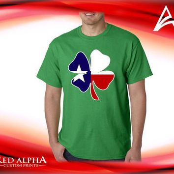 St. Patrick's Day T-shirt- Colored Texas  Flag