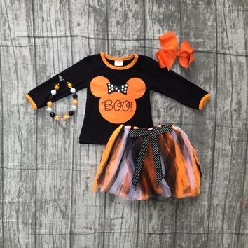Fall/winter baby girls Halloween BOO outifits children minnie Halloween party clothes sets top with tutu sets with accessories