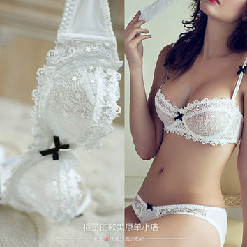 Hot 2016 ultra-thin sexy lace bra thin transparent cup lingerie sexy gauze bra set
