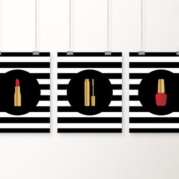 Makeup Art,  Set of 3 Prints 5x7, 8x10, 11x14 Vanity Art, Mascara, Lipstick, Nail Polish, Faux Gold Bathroom Art, Fashion Art, Stripe Art