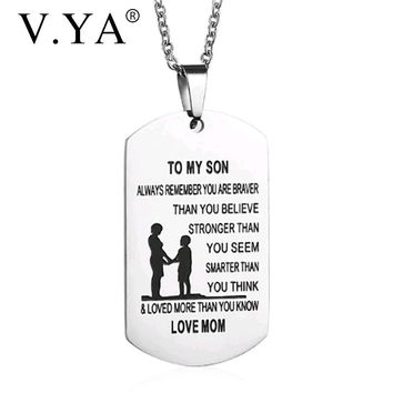 """V.Ya Stainless Steel Pendant Necklaces for""""FATHER & MUM""""TO MY DAUGHTER & SON""""Fashion Custom Engrave Jewelry Charms Birthday Gift"""
