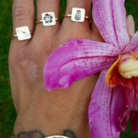 Stamped Rings, Hawaiian Islands, Hibiscus Flower, Pineapple Ring, Sterling Silver, 14K Gold filled, engraved rings