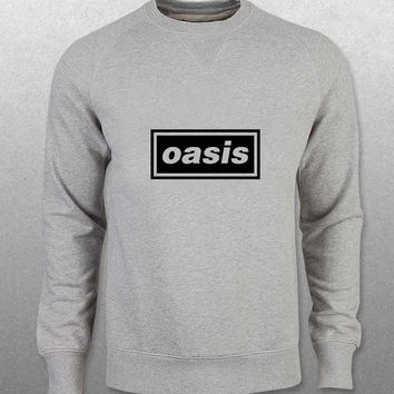 oasis sweater Gray Sweatshirt Crewneck Men or Women Unisex Size with variant colour