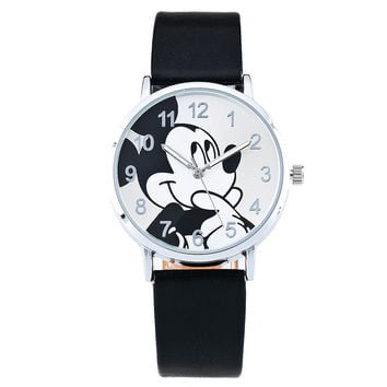 Fashion Children Cartoon Watch Women Mickey Mouse Quartz Watch Casual Leather Wristwatch Kid Boys Girls Clock Relogio Reloj 1961