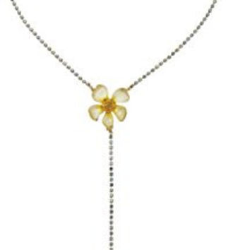 "Betsey Johnson ""Luminous Betsey"" Flower and Bug Y-Shaped Necklace, 18"" + 3"" Extender"