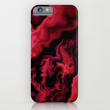 MELON & BEED RED MARBLED GEODE iPhone & iPod Case by Pia Schneider