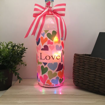 Love Wine Bottle Lamp, Valentine's Day gift