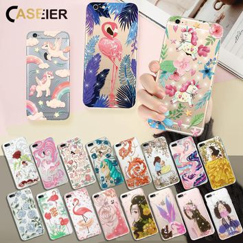 Caseier Cute Unicorn For iPhone 6 6S Case Rhinestone Glitter Flamingo Soft Shell For iPhone 6 6S Plus Girls Favorite Shell