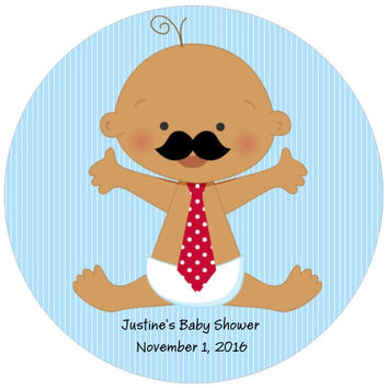 Baby Boy Mustache Thank You Shower Stickers