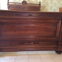 French Walnut Bed Henri II Style
