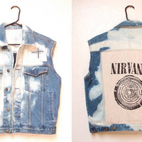 Bleached and Distressed Denim Nirvana Punk Vest