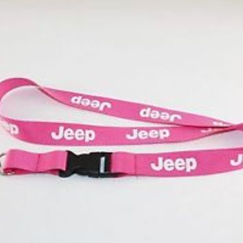 Pink Jeep Lanyard Keychain ID Holder - NEW! REDUCED PRICE FOR QUICK SALE!