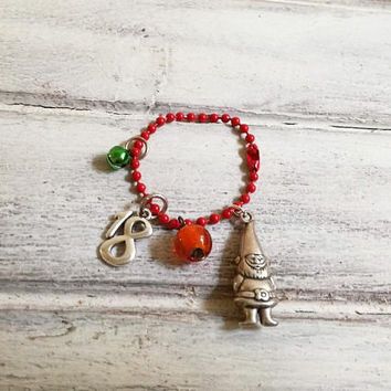 Elf Christmas charm with bells and '18' number, silver elf charm with green bell, red bead, and '18' year charm on red chain gouri 2018,