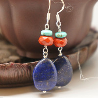 Genuine lapis 925 sterling sivler earrings, handmade jasper turquoise earrings, chakra crystal healing earrings, lapis lazuli pendant earrin