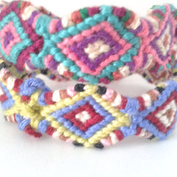 Multi- Coloured Aztec Diamond Friendship Bracelet - Hand-woven Seamless Friendship Bracelet
