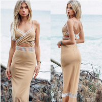 Khaki Cut Out Cross Halter Maxi Dress