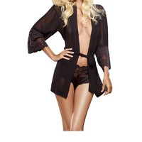 S/m Sheer Sexy Lace Trimmed Robe Matching G-string
