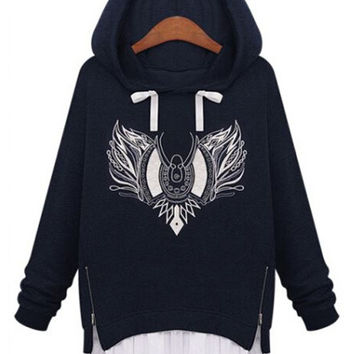 Long Sleeve Embroidered Hooded Sweater