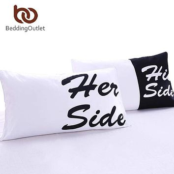 His & Her Side Couple Pillow Cover