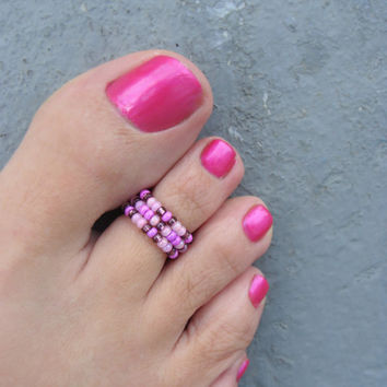 Toe Ring, Purple Passion Bead Stretchable Toe Ring