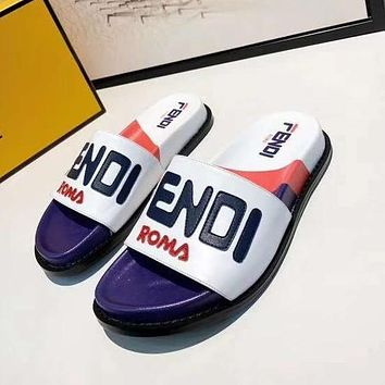 Fendi Fashion New Letter Print High Quality Leisure Slippers Shoes-2