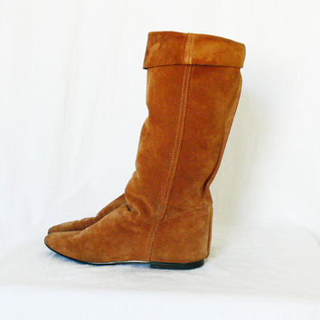 Vintage 80s Boots 7.5 38 Slouch Suede Brown Boho Made In Italy