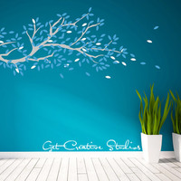 Branch Tree Wall Decal Leaves Blue Ice White Gray Wind Floating Cool Winter Breeze holiday Christmas Stickers - 175 LEAVES!