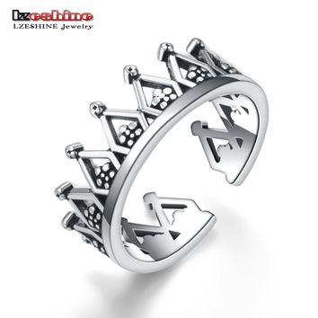 LZESHINE Antique 925 Sterling Silver Opening Size Finger Rings For Women Men Vintage Jewelry Anillos Hollow Crown Rings