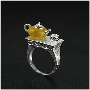 Tea Time! Sterling Silver and Natural Amber Handmade Teapot Ring