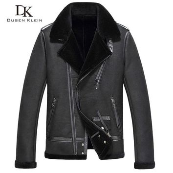 Motorcycle jacket Shearling coat men 2017 new Dusen Klein Genuine sheepskin Wool liner Designer leather coats 71C2706